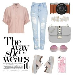 Girl in Action by debyfb on Polyvore featuring polyvore fashion style Topshop Stuart Weitzman Valentino Humble Chic Casetify Fujifilm clothing