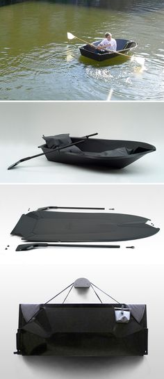 this boat folds up. there is also one that rolls up into a pack. amazing.