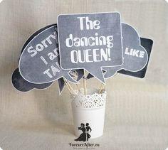 Set 9 props cu mesaje pentru fotografii Chalkboard | Accesorii nunta - Props nunta | ForeverAfter.ro