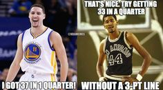 George Gervin is not impressed, Klay Thompson...  |  Seriously though. Yeah, the Iceman's game was a lot of driving to the basket, but 33 in a quarter is impressive, especially when the defense was so intense and physical back then. Nothing against what Klay did. Dude was absolutely shooting the lights out. 30+ in a quarter by one player is unreal, no matter how it's done. I will say this though: cut the guy some slack and show some respect. 3-pointers are difficult to make. Just sayin'...