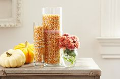 Add a rustic harvest touch to your décor with corn kernels and 3 simple displays.