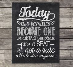 Chalkboard Wedding Sign - Instant Download, printable - Today two families become one/ Please, choose a seat/ not a side op Etsy, $1.52