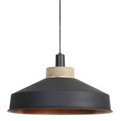 Krachtig door zijn eenvoud! Hanglamp Milenca heeft een mooie grafiet kleur en de binnenkant is van koper door deze combinatie straalt de lamp een en al luxe uit. Het bovenstuk van de lamp is afgewerkt met hout. De Milenca hanglamp in grafiet kleur heeft een diameter van 46cm met een hoogte van 26cm. Deze grafiet-koperen hanglamp gemaakt van metaal & hout is afkomstig van het merk Light&Living.