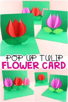 How to Make a Pop Up Flower Card - Easy Spring Tulip Craft for kids! Pop Up Flower Cards, Pop Up Flowers, Pop Up Cards, Pop Art For Kids, Kids Pop, Diy For Kids, Spring Crafts For Kids, Paper Crafts For Kids, Foam Crafts