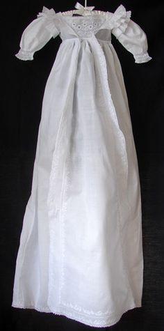 Maria Niforos - Fine Antique Lace, Linens & Textiles : Antique Christening Gowns & Children's Items # CI-51 Circa 1860, Rare Whitework Christening Gown