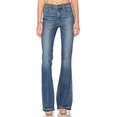 Paige Denim High Rise Bell Canyon Denim (2 030 SEK) ❤ liked on Polyvore featuring jeans, frayed jeans, highwaisted jeans, blue denim jeans, flared denim jeans and high waisted jeans