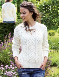FREE PDF DIGITAL Vintage knitting pattern for Ladies Aran knit sweater Sizes 32 to 40 inch bust Required yarn 100 extra fine Merino Aran 4 5 and