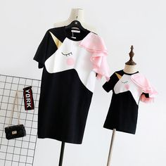 4283bb4f51bc Family Matching T-Shirts: Unicorn Shoulder with Ruffle Mother Daughter Tunic
