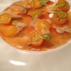 Salmon Carpaccio @ bittersweet - w/ candied kumquats & fresno chiles - great balance of sweet, salty & spicy