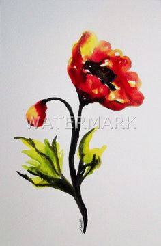 Abstract Flower / Poppy , original watercolour (not print) on 300g paper approx: 12 x 8inch / 31 x 20cm. FREE SHIPPING $45.00 USD