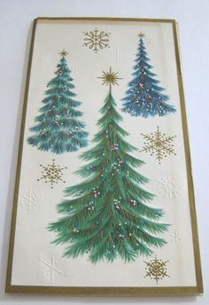 Used Vintage Christmas Card Glittery Christmas Trees w Gold Snowflakes