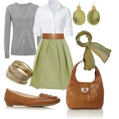 green skirt, brown belt, white button down blouse, gray cardigan, scarf, brown purse, gold accessories, brown flats