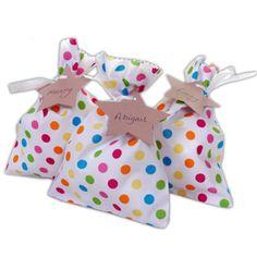 Handmade Rainbow Polka Dot Fabric Party Bags...cute