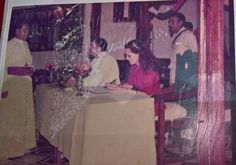 Prime Minister Rajiv Gandhi and Sonia Gandhi along with Bishop Edmonds Mathew at Mus Village, Carnicobar (1987). Sonia Gandhi is wearing the traditional Nicobarese attire.