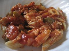 Chicken Cacciatore (allergy-friendly)  SO EASY!  This recipe is free of dairy, eggs, peanuts, tree nuts, soy, fish, and shellfish. It can be made wheat-free by using rice or gluten-free pasta.  Always double-check ingredients, including cross-contamination risk based on your level of sensitivity and comfort.