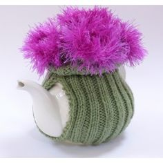 Highland Thistle Tea Cosy - website closed Picture only - no pattern Knitted Tea Cosies, Knitting Patterns, Crochet Patterns, Tea Blog, Scottish Thistle, Tea Cozy, Crafty Projects, Cosy, Tea Party