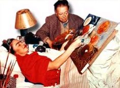 Living Nature, Naturaleza Viva, Frida Kahlo - Frida painting in bed with Diego near, 1952.