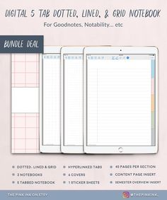 Three Digital Notebooks in Dotted, Graph and Lined paper bundle. Goodnotes and Notability 5 Subject Tabbed Student Notebook Template Planner Template, Printable Planner, Printables, Grid Notebook, Notebook Stickers, App Support, Business Planner, Work From Home Moms, Dots