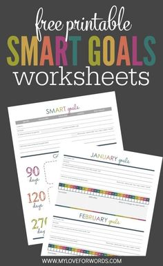 Free Smart Goal Setting Worksheet for Goals you can Actually Achieve Wondering how to write smart goals? Creating goals you can actually achieve is easy! This free smart goal setting worksheet collection will show you. Smart Goals Worksheet, Goal Setting Worksheet, Printable Worksheets, Free Printables, Goals Printable, Printable Planner, New Year Printables, Printable Templates, Planner Template