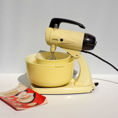 Vintage 1950's Sunbeam Mixmaster Electric Stand Mixer in Yellow, with Two Glasbake Bowls and Original Instruction Booklet, Model 12