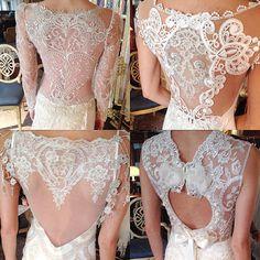 Back Details: (Clockwise) Claire Pettibone 'Sinclair', 'Cameo', 'Bijoux' & 'Helene' wedding dresses, #TheGildedAge Collection   Photo: J Major's Bridal Boutique