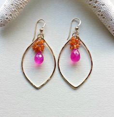 Bright Gemstone Hoop Earrings, Pink Orange Hoops, Hot Pink Chalcedony, Carnelian Hoop Earrings, Hammered Gold Hoops, Marquise Hoops