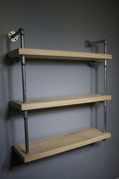 NEW: RAW Shelving- Wall Mounted Industrial Pipe Media Shelving by IndustrialEnvy