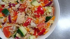 Tuna, Veggie & Couscous Salad- cheap and easy to customize to taste. Great idea for a sack lunch item.