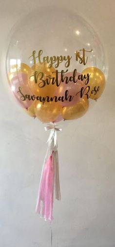 Balloons OnlinePrinting On 24 Custom Printed Bubble With 5 Inside And Tassels Attached First Birthdays Wine