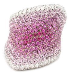 PALMIERO 18K WHITE GOLD DIAMOND & PINK SAPPHIRE RING