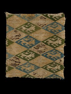 Woven textile fragment, possibly made in either Germany or Spain, woven linen, embroidered in polychrome silks, circa century>>Another pinner speculated that it might be brick stitch. Embroidery Stitches, Embroidery Patterns, Medieval Pattern, Medieval Embroidery, High Middle Ages, Art Chinois, Century Textiles, Fabric Rug, Linen Fabric