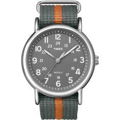 Timex Unisex T2N649 Weekender Gray and Orange Slip-Thru Nylon Strap Watch: Watches: Amazon.com