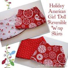 """Free doll clothes pattern to make a cute holiday reversible wrap skirt for you American Girl Doll or 18"""" doll. Quick and easy pattern with tips to complete."""