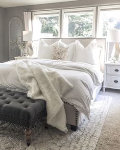 neutral colored master bedroom - neutral colored guest bedroom - grey scale home interior - farmhouse style bedroom - cozy clean and simple bedroom design Modern Bedroom, Beautiful Bedrooms, Cozy House, Remodel Bedroom, Home Decor, Master Bedroom Design, Small Bedroom, Dream Bedroom, Home Bedroom