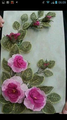 This Pin was discovered by gzd Couture Embroidery, Silk Ribbon Embroidery, Cross Stitch Embroidery, Hand Embroidery, Embroidery Designs, Beaded Flowers, Diy Flowers, Crochet Flowers, Lace Making