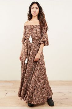 Halligan Brown Paisley Maxi Dress - Earthbound Trading Co.