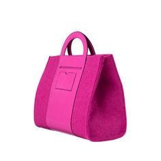 Pink wool with pink leather trim #satchel. Detachable strap to use as shoulder bag or handheld.