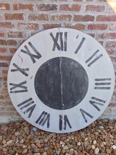 Repurposed tabletop into wall clock