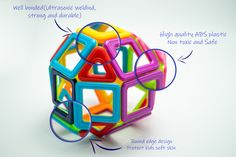 The magnetic blocks are made of non-toxic, odorless, high quality and durable ABS plastic; They all have round edge design without sharpness so your kid's will not hurt their little hands. Construction Toys For Boys, Magnetic Building Blocks, Edge Design, Skin So Soft, Kids Toys, Abs, Plastic, Childhood Toys, Crunches