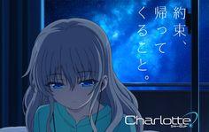 Anime Charlotte Nao Tomori Anime White Hair Blue Eyes Auriculares Night Fondo de Pantalla