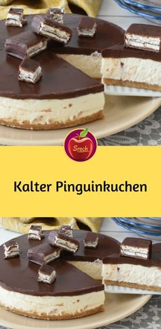 Kalter Pinguinkuchen Zutaten 200 g mascarpone 300 g sahne 80 g pude. All Recipes Cookies, Baking Recipes, Penguin Cakes, Flaky Pastry, Cake Ingredients, Food Cakes, No Bake Cake, Bakery, Good Food