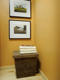 yellow walls for a laundry room from HGTV