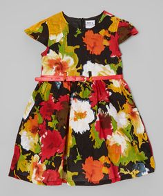 Loving this Red Floral Belted Dress - Toddler & Girls on #zulily! #zulilyfinds