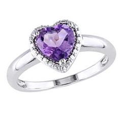7.0Mm Heart-Shaped Amethyst Promise Ring 14K White Gold Finish by JewelryHub on Opensky
