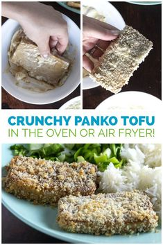 Y'all, I am so excited to share this recipe for easy, crunchy Panko Tofu. You can make it in the air fryer or in the oven. Either way, it's an easy and delicious plant-based entree that your family is going to LOVE!  #crunchytofu #pankotofu #baked #airfryer #vegan #crispy #recipes #easy Vegan Blogs, Tofu Recipes, Vegan Breakfast Recipes, Delicious Vegan Recipes, How To Press Tofu, Some Recipe, Plant Based, Oven, Easy Meals