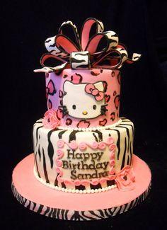 Pink leopard & zebra Hello Kitty — Birthday Cake Photos