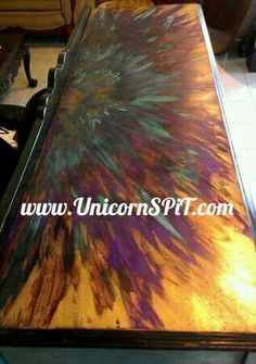 Buffet top done in Unicorn SPiT over gold metallic spray paint Unicorn Stencil, Unicorn Painting, Paint Furniture, Furniture Makeover, Refurbished Furniture, Unicorn Spit Stain, Unicorn Pumpkin, Pumpkin Pictures, Faux Stained Glass