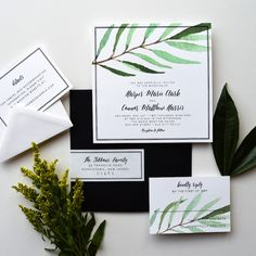 Wedding invitations and matching stationery by Engaging Papers. Find the perfect modern, rustic or classic wedding invitations for your luxury wedding.