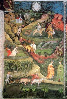 """""""Aprile"""", Ciclo dei Mesi, fresco of the Torre Aquila, Castello del Buonconsiglio, Trent, Italy, (ca. 1390-1400), by Maestro Venceslao"""