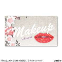 Makeup Artist Sparkle Red Lips Modern Salon Double-Sided Standard Business Cards (Pack Of 100)